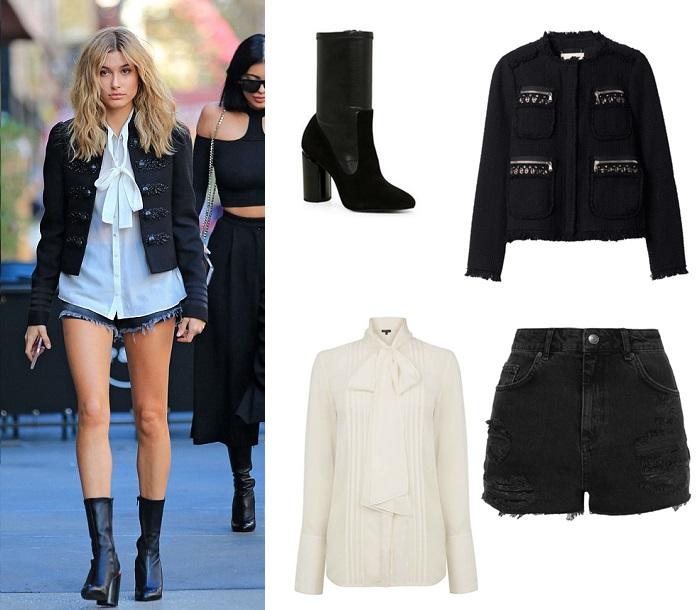 hailey baldwin, celeb style, style, fashion, celebrity, street style, black, chic