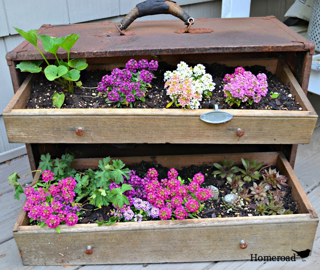 Plantador de caixa de ferramentas Upcycled com gavetas - Homeroad