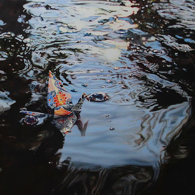 Crane #24 (Koi Pond, Arizona), 14″x14″, Oil on Linen