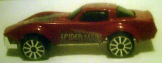 Side view of Spider-Man diecast car 2009
