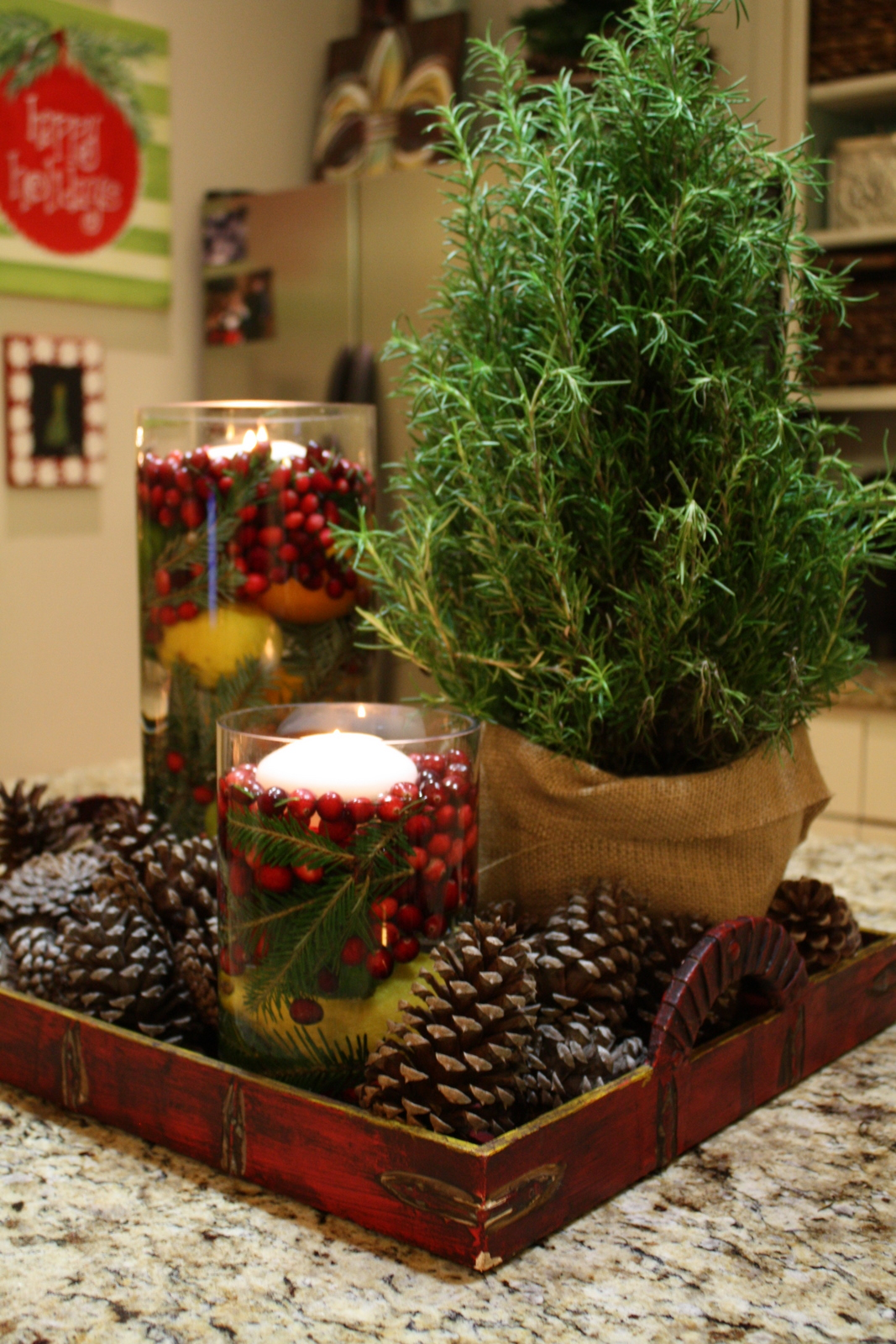 Our southern nest easy holiday centerpiece Natural decorating
