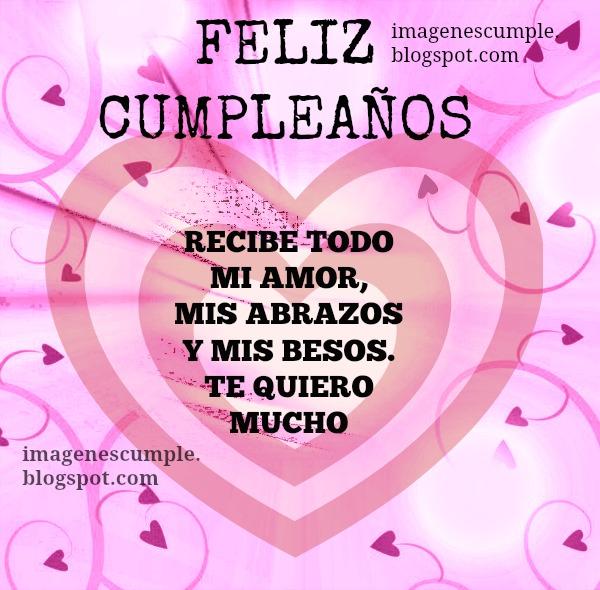 Tarjeta con imagen bonita de cumpleaños con amor, cariño, te quiero en tu cumpleaños y siempre para niños, hombre, mujer.