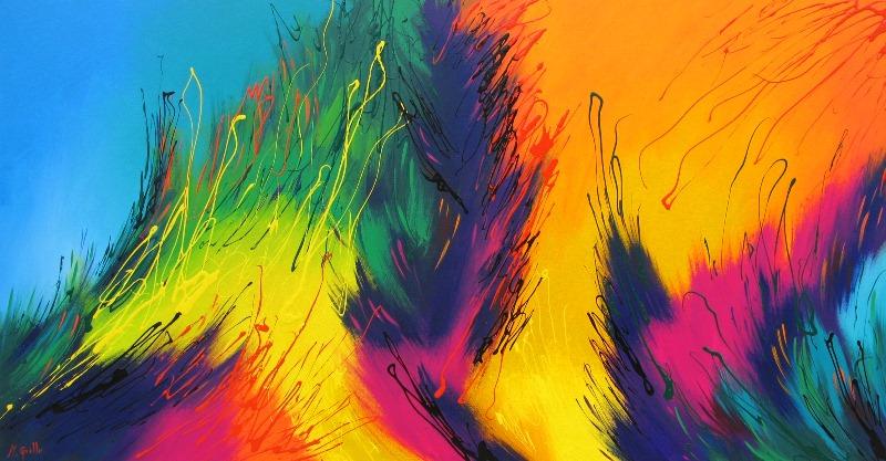 Pinturas cuadros lienzos abstractos colores vivos pintura - Cuadros de colores ...