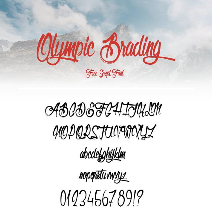 35 Font Script untuk Desain grafis - Olympic Branding Script Font