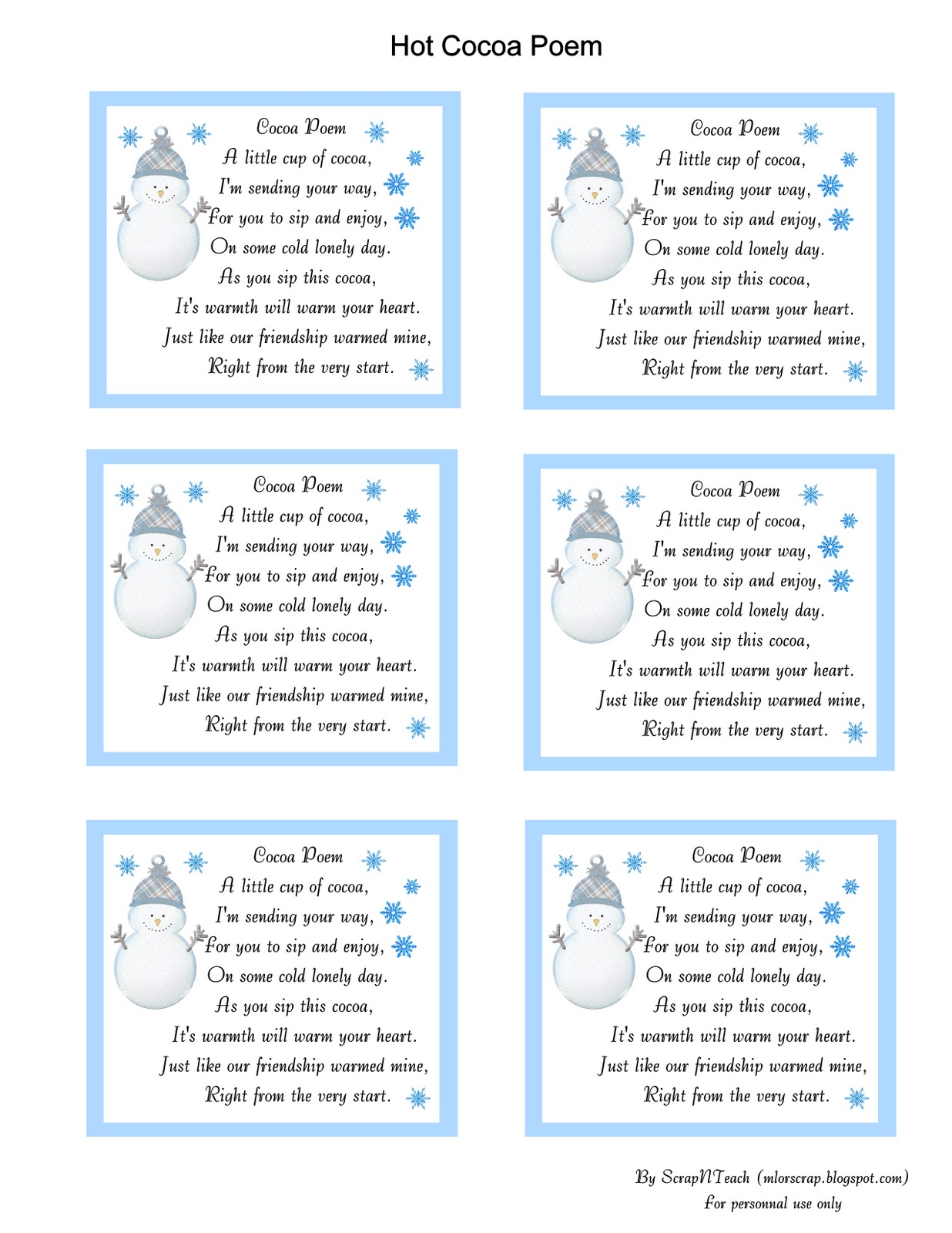 Snowman-Hot-Chocolate-Poem Hot Chocolate Poem | Search Results ...