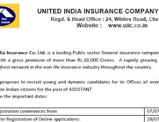 United India Insurance Company Ltd Assistant Recruitments (www.tngovernmentjobs.in)