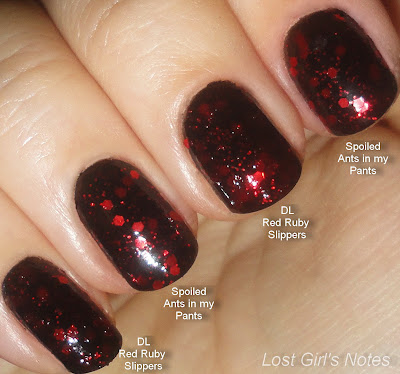 deborah lippmann red ruby slippers and spoiled ants in my pants comparison swatches