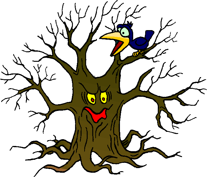 Bird and Scary Tree Free Clipart