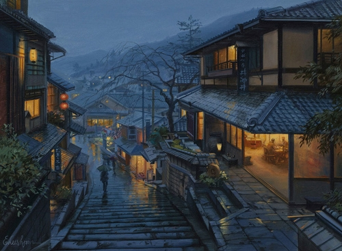 16-Old-Kyoto-Evgeny-Lushpin-Scenes-of-Realistic-Night-Time-Paintings-www-designstack-co