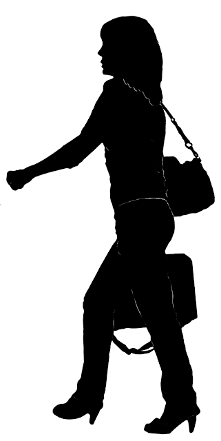 silhouette of a woman with an overnighter and a purse