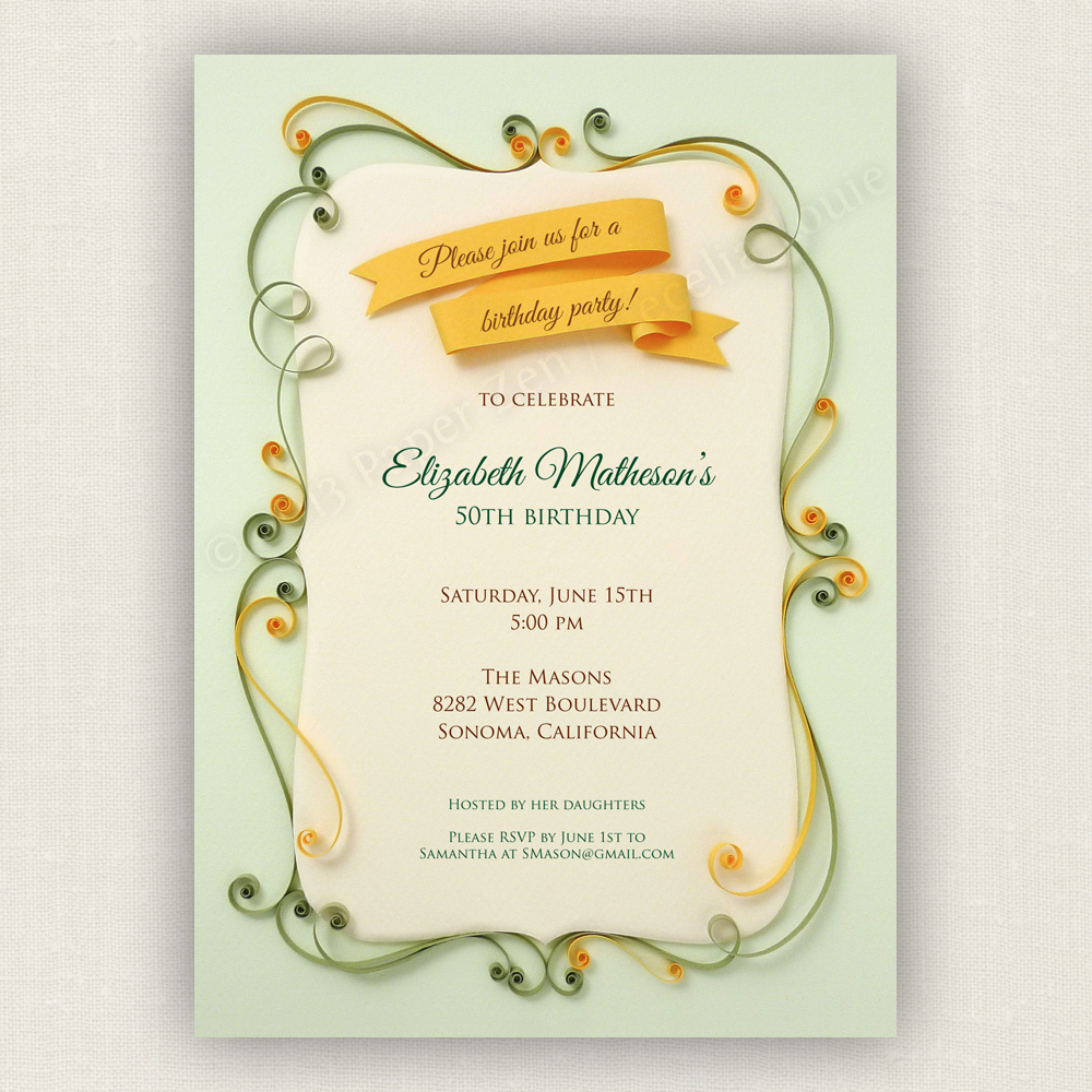 Welcome To Paper Zen Cecelia Louie Printable Vintage Invitation