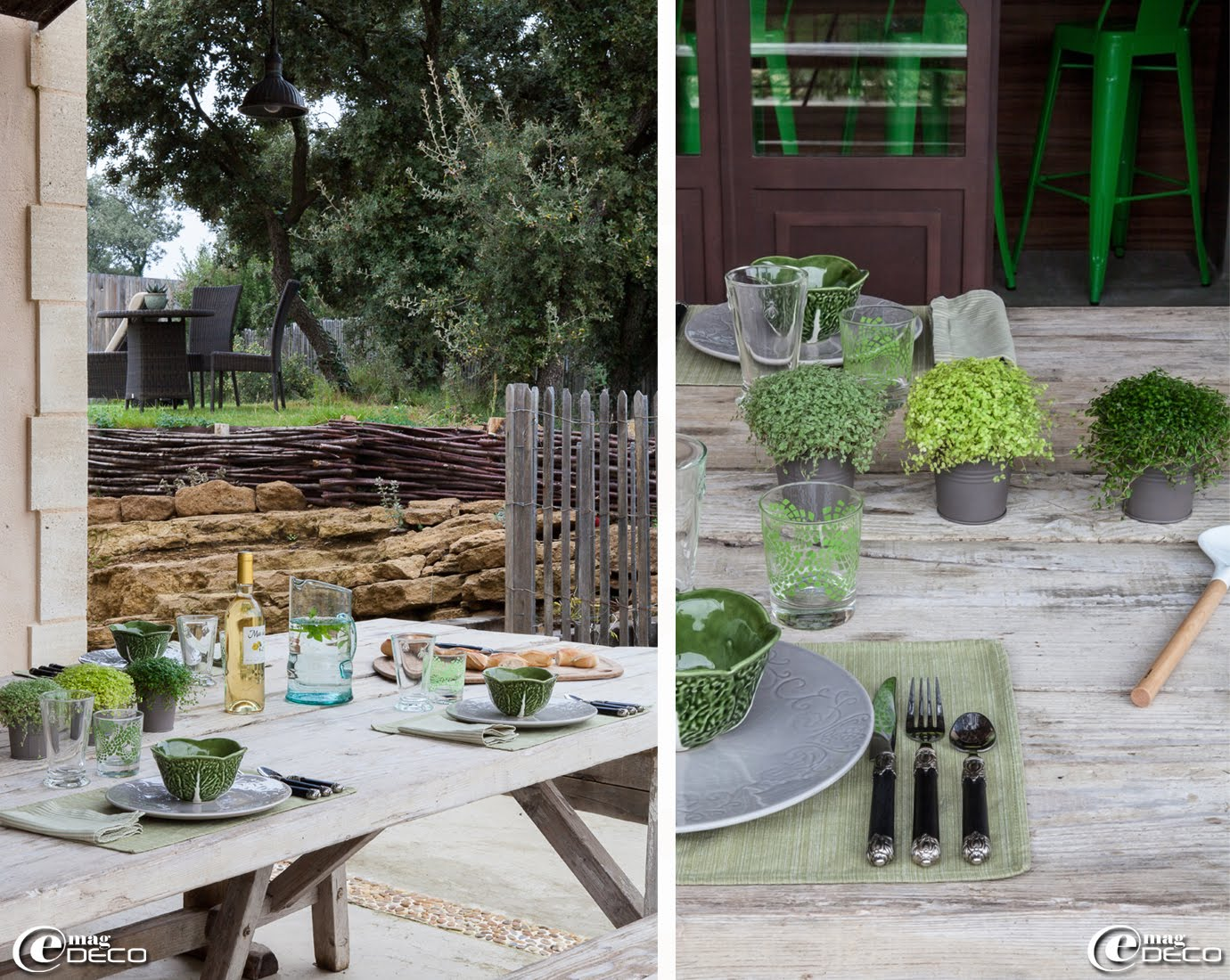 Sous la pergola de la maison d'hôtes de charme 'La Bergerie de Nano', la table a été conçue à partir d'anciens tréteaux et de vieilles planches d'échafaudage laissées brutes