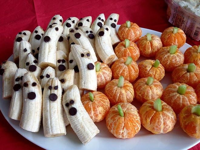 Plátanos y mandarinas de Halloween