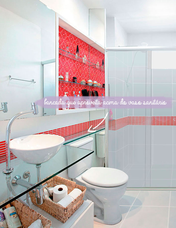 Dicas para banheiros pequenos  Comprando Meu Apê  Comprando Meu Apê -> Banheiro Pequeno Decorado De Vermelho