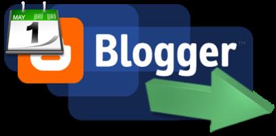 логотип Blogger с иконкой календаря и срелкой