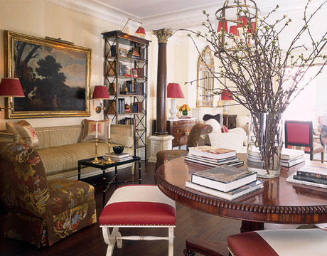 A great way to dress up your home for the holidays is by adding red  lampshades. This has become a signature of Alessandra Branca's interior  design style and ...