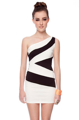 Color-block One Shoulder Dress