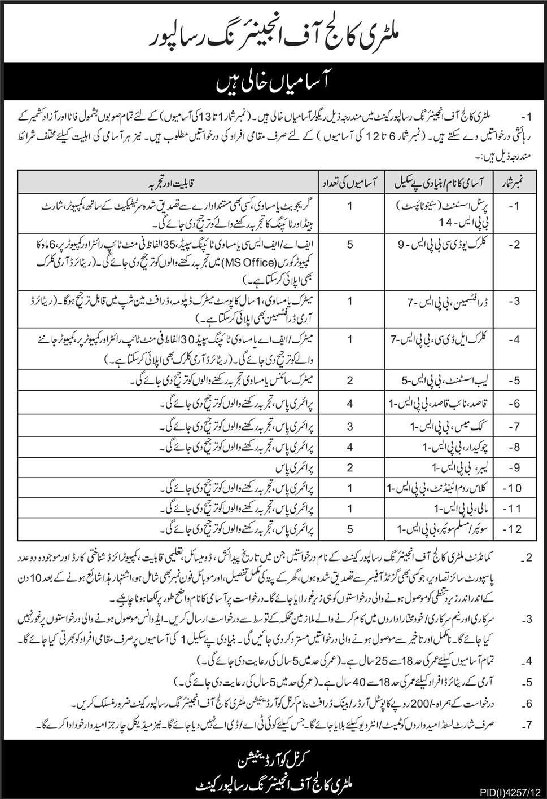 Vacancies in Military College of Engineering Risalpur