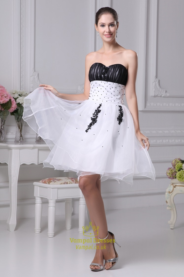Black And White Short Wedding Dresses