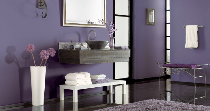 Purple Black and Grey Bathroom