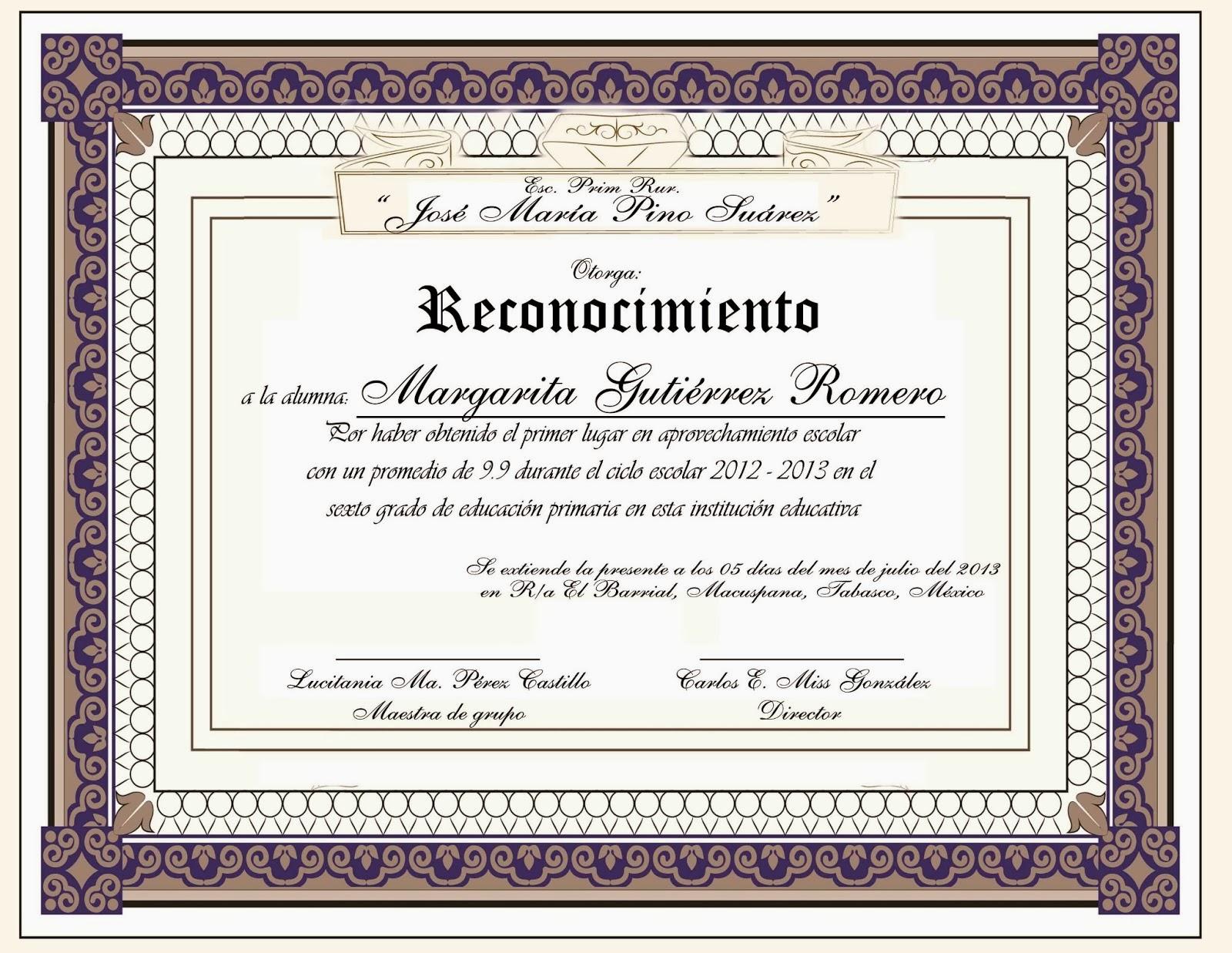 Diplomas De Reconocimiento