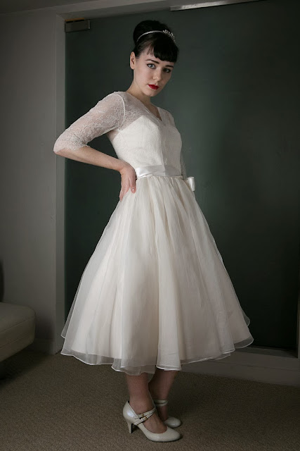 1950s Vintage Wedding Dress 'Chantilly' c. HEAVENLY VINTAGE BRIDES - tea length with three-quarter sleeves