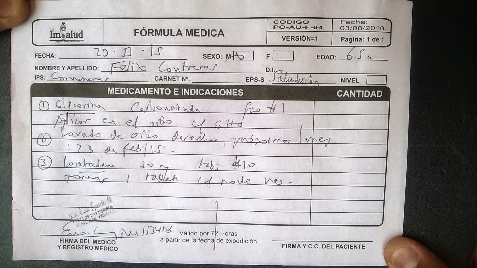 En cuidados intensivos sistema de salud subsidiado en Colombia: Ni glicerina carbonatada ni lavado de oído para adulto mayor