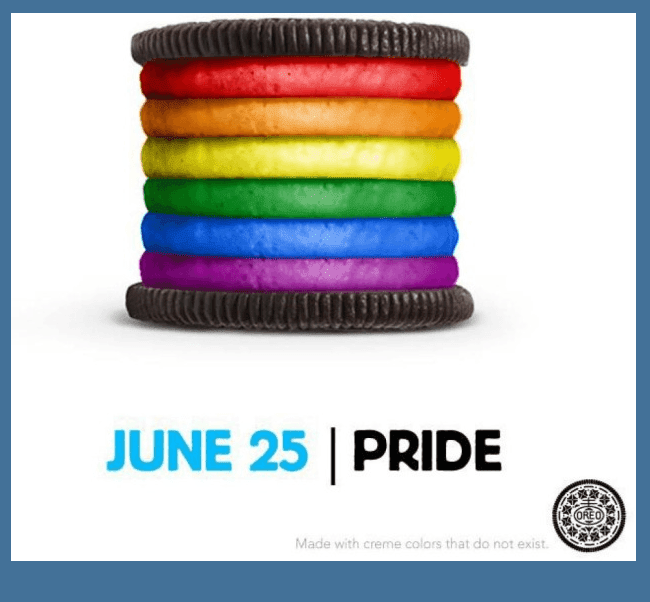 Oreo cookies expressed support for gay pride in 2012.