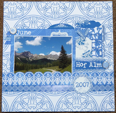 the arty parrot china blue scrapbook layouts