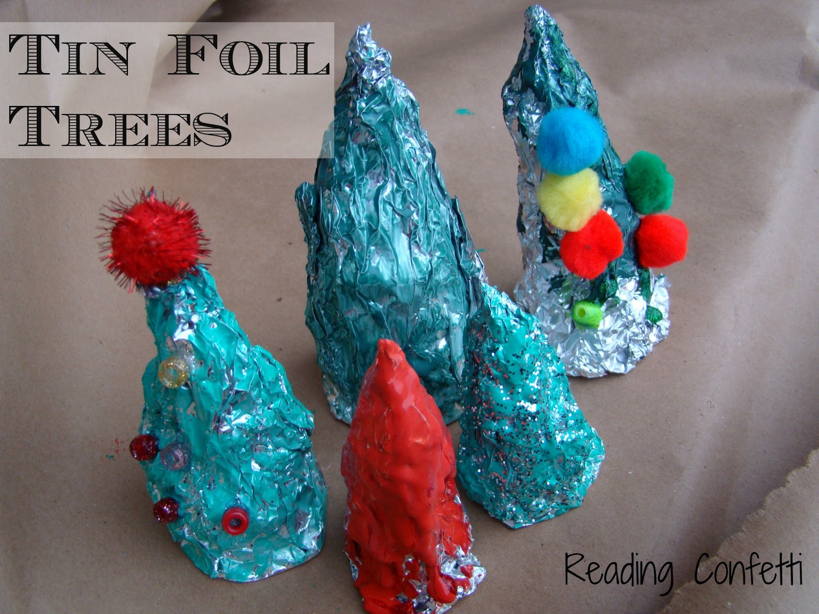 Tin Foil Christmas Tree Sculptures ~ Reading Confetti