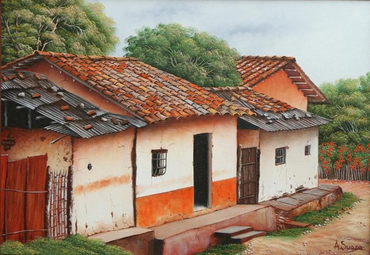 Cuadros modernos pinturas y dibujos paisajes - Casas de pueblos ...