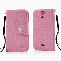 Leather Case Wallet With Credt Card Slot Sony Xperia V LT25i - Baby Pink