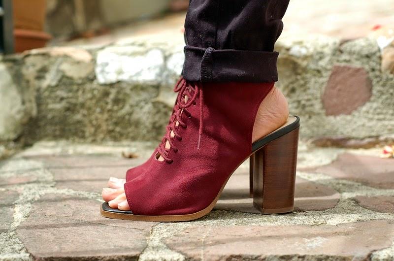 burgundy sandals