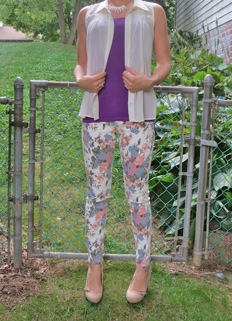 Floral pants Purple top outfit