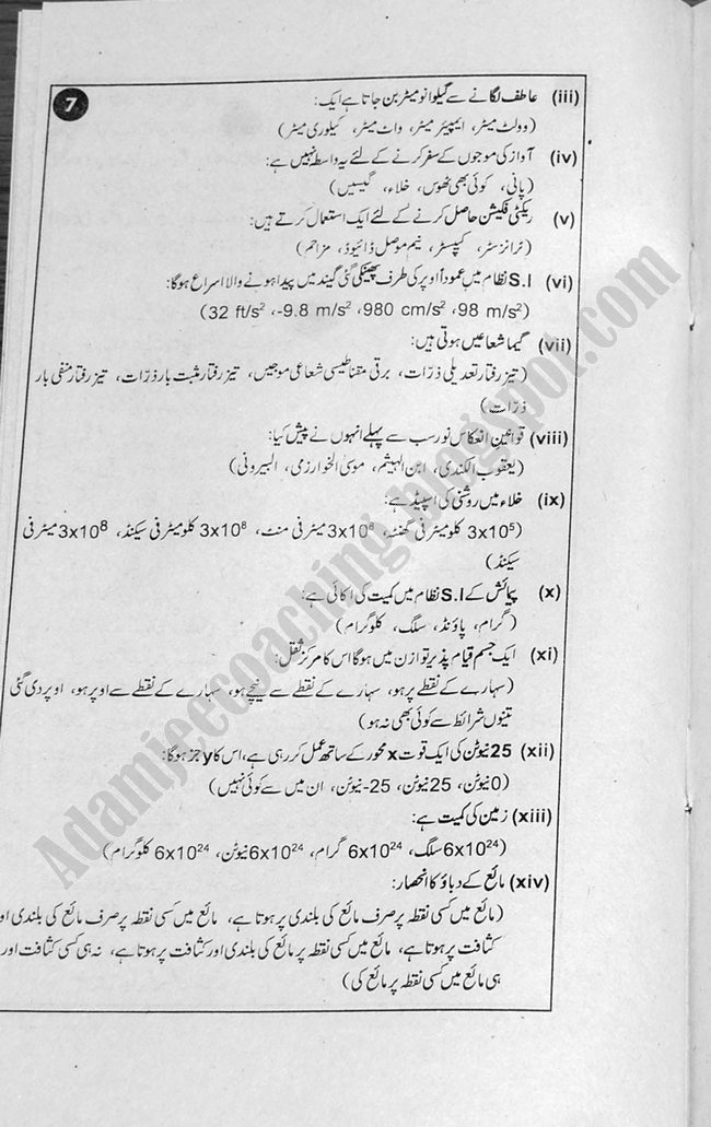 Physics (Urdu) Guess Papers Science Group X Class 2013