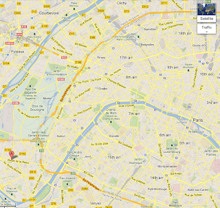 Map of Paris with Marriott Courtyard in Bologne-Billancourt marked with Flag A.