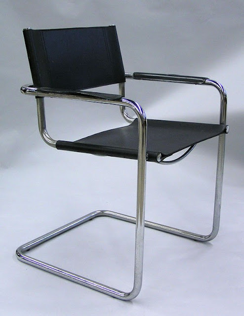 Mart Stam armchairs, black leather on tubular steel frame