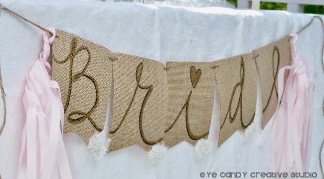 burlap banner for the bride, custom hand lettered banner, bride banner