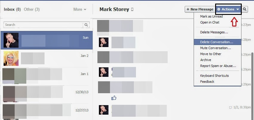 how to delete your own facebook messages