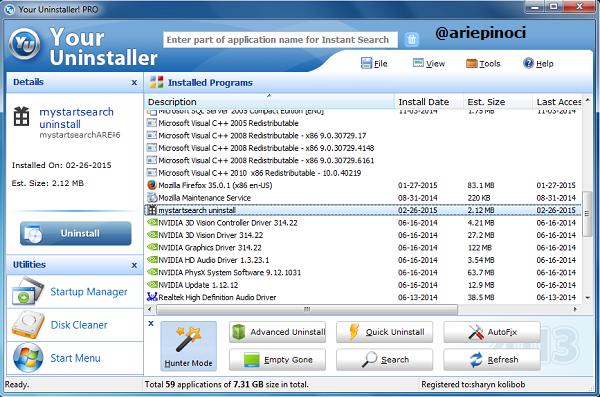 MystartSearch Uninstall dengan Your Uninstaller