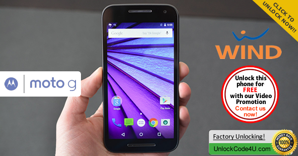 Factory Unlock Code Motorola Moto G 3Generation from Wind