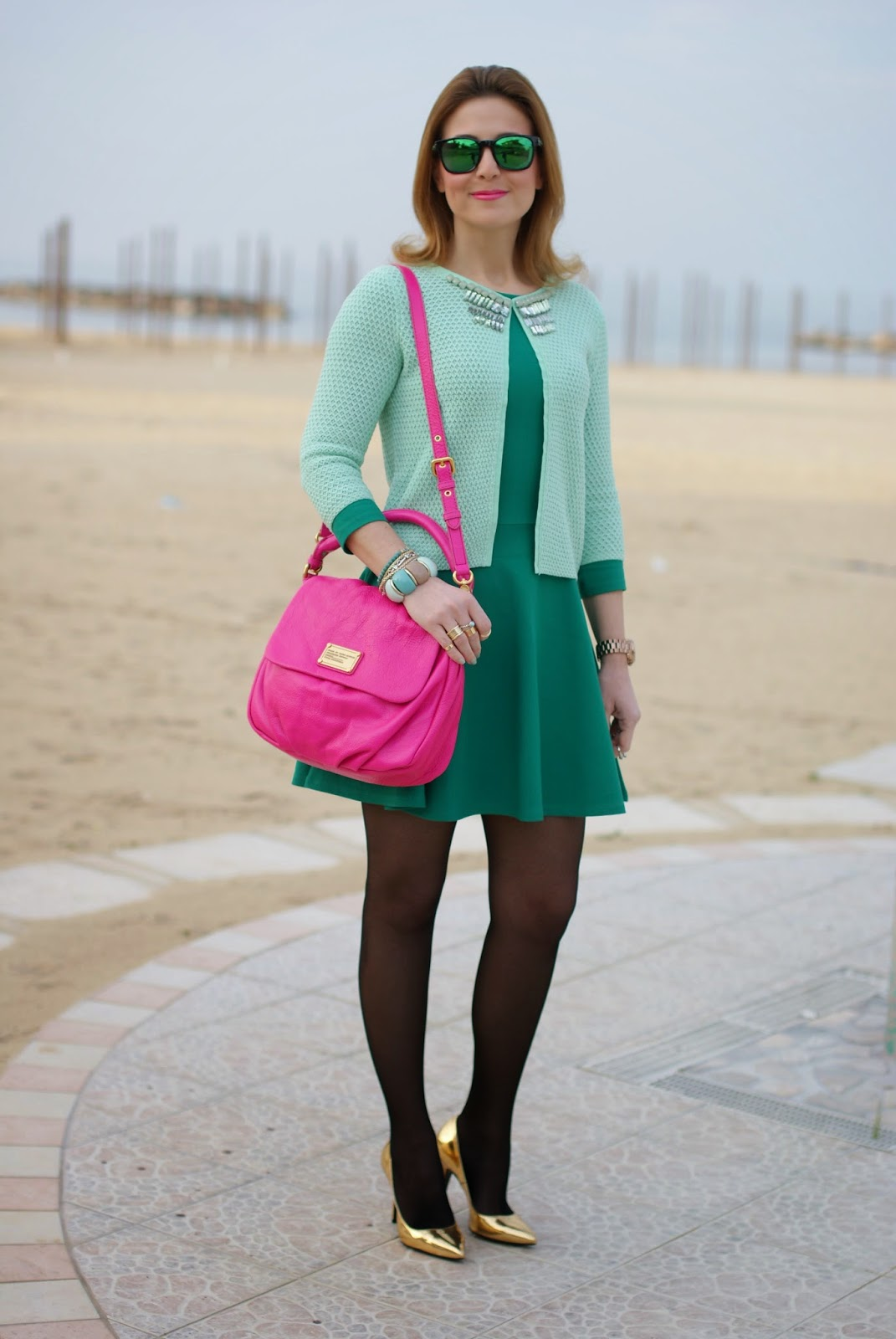 golden pumps, Marc by Marc Jacobs lil ukita bag, Giorgia and Johns cardigan diamonds menta, Fashion and Cookies, fashion blogger