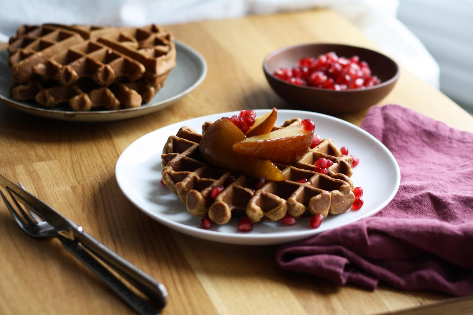 ginger molasses waffles with roasted pears and pomegranate // sevengrams