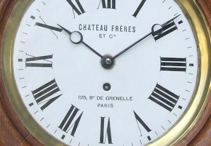 PENDULE DE GARE  CONSTRUCTEUR CHATEAU FRERES  ET C ie 125 Bd DE GRENELLE PARIS