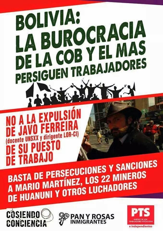Bolivia: La burocracia de la COB y el MAS persiguen trabajadores