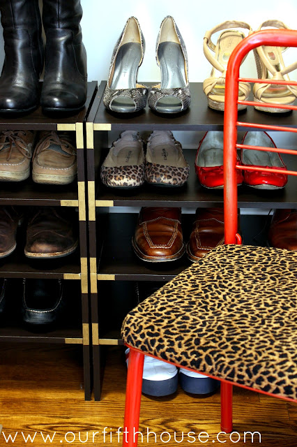 campaign style shoe shelves