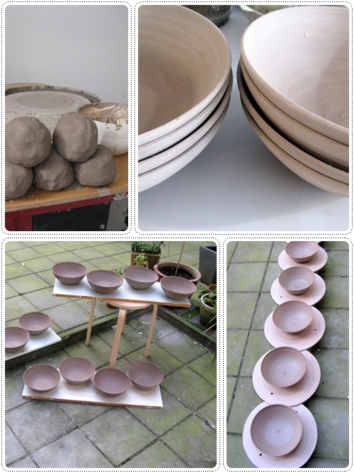 Work in progress - ceramic hand thrown bowls