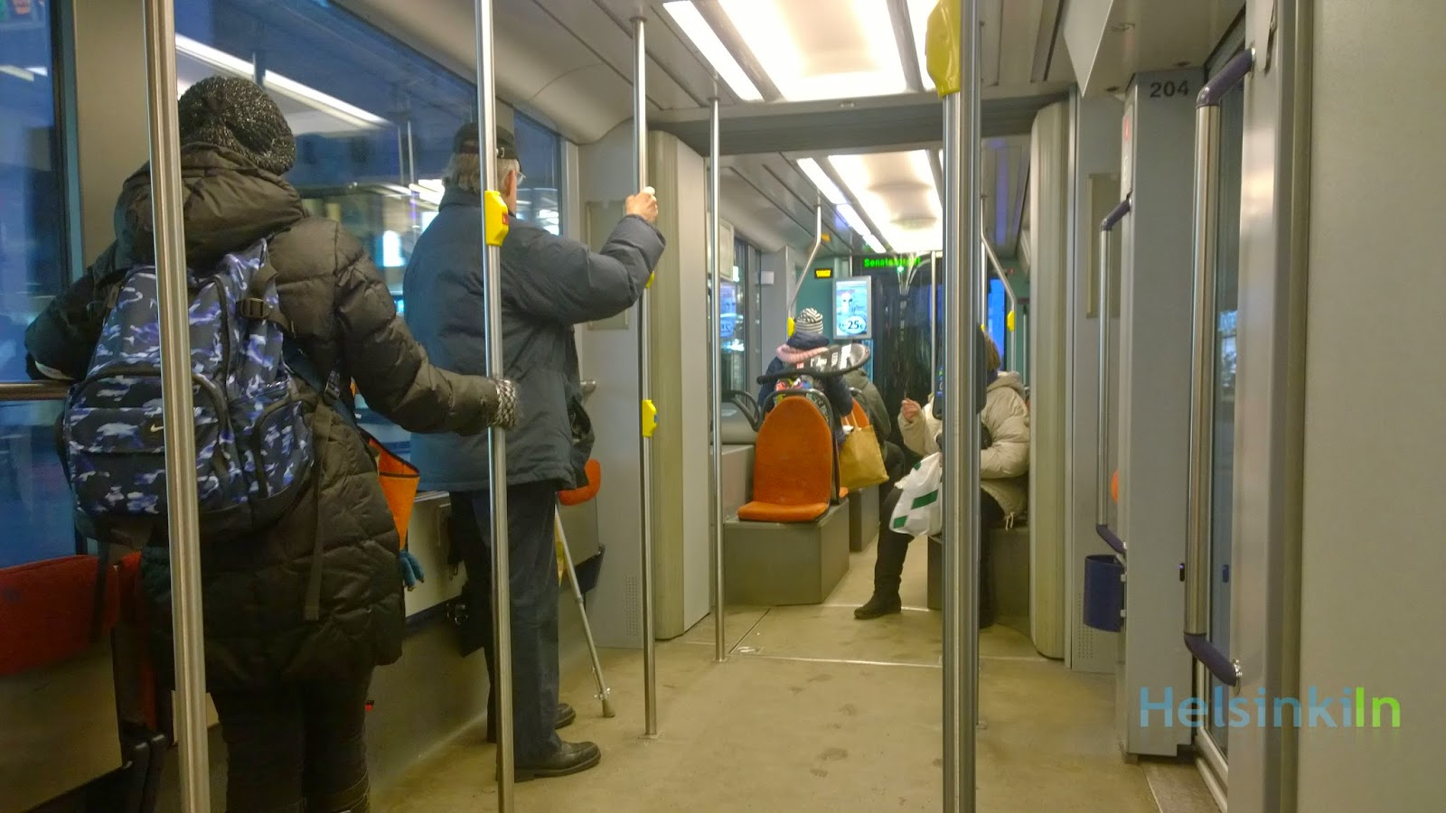 On the tram in Helsinki