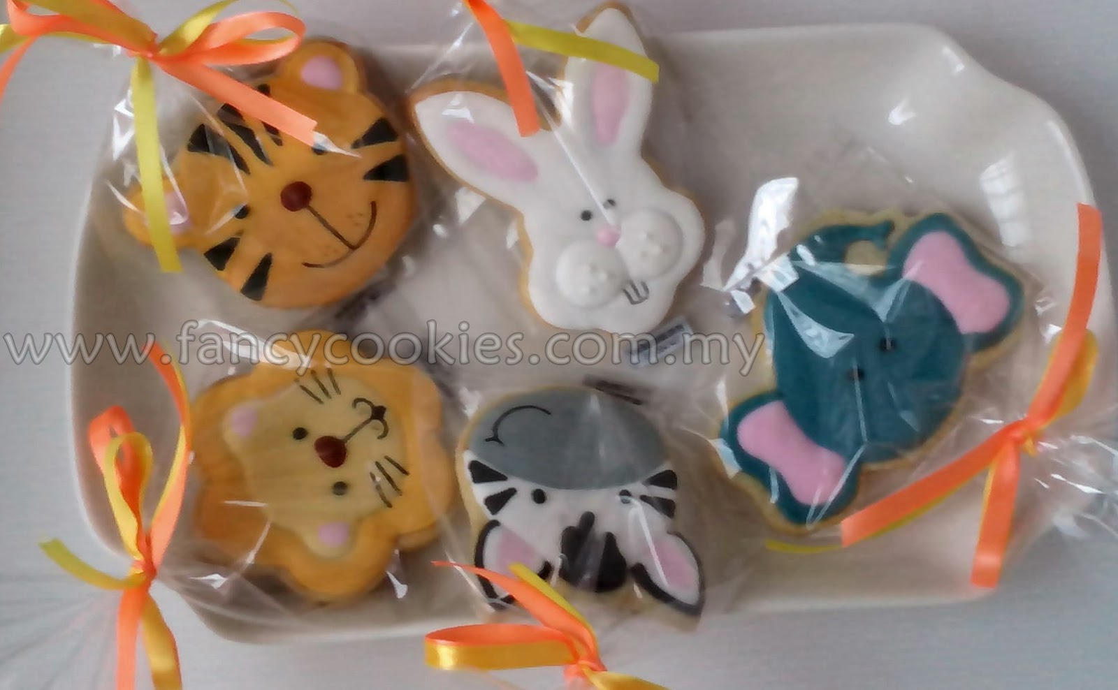 fancy cookies zoo animal - elephant - zebra - tiger - lion - rabbit