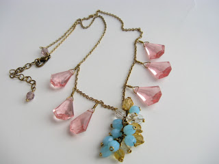 handmade rose chandelier crystal necklace